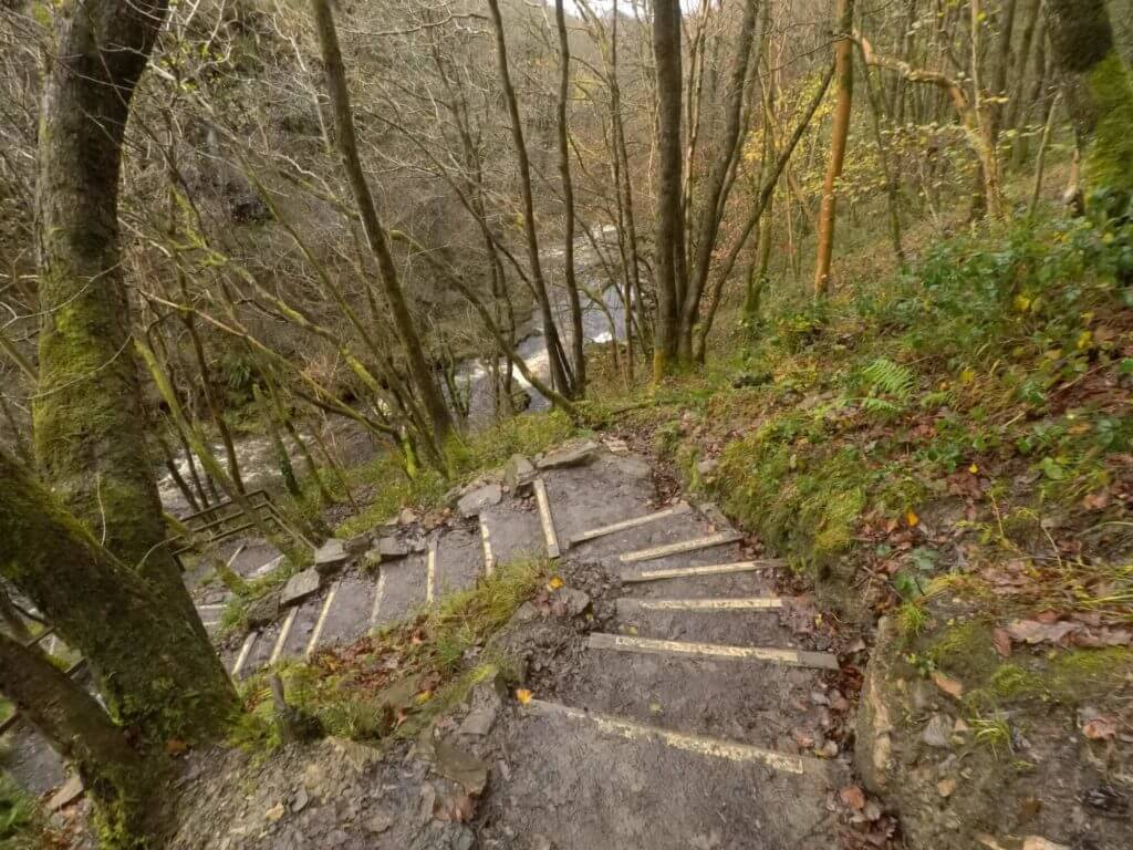 Steps to Sgwd yr Eira Waterfall