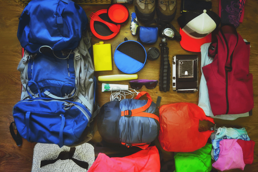 well laid out hiking gear