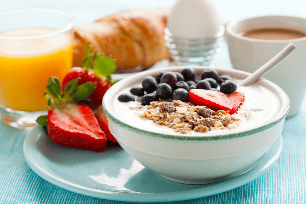 healthy breakfast cereal with fruit in a bowl