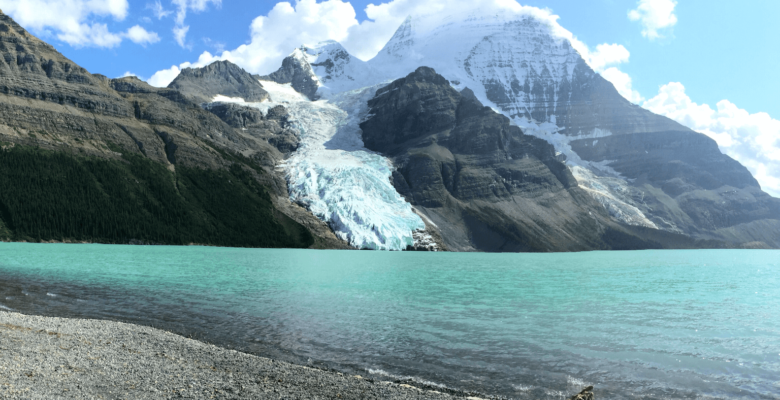 green water of berg lake with mountain glacier