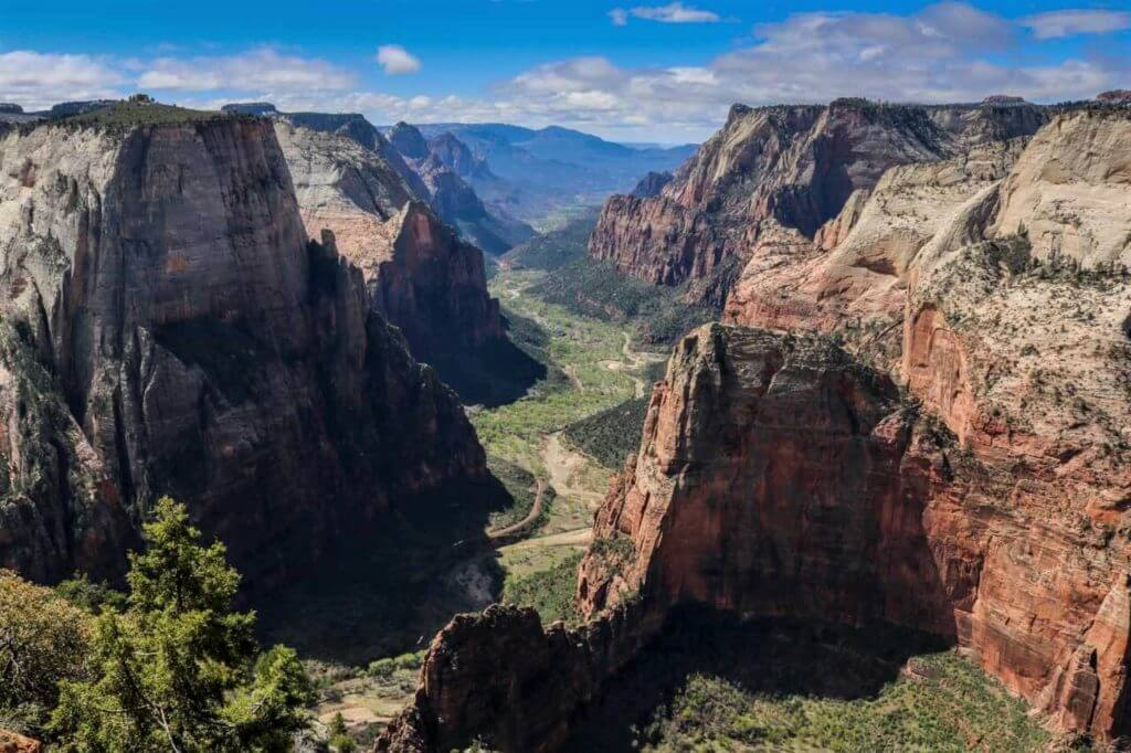 view of angels landing from observation point in zion national park
