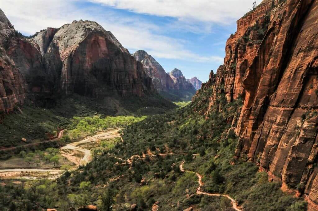 looking south over the west rim trail in zion canyon
