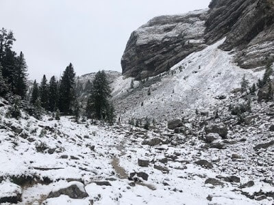 alta via 1 trail in the snow