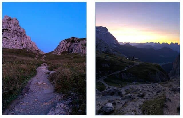 Leaving Rifugio Coldai at Dawn