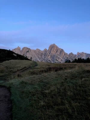 Leaving Rifugio Pramperet at Dawn