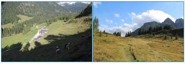 Looking Back on Malga Vescova (Left) and Looking Forward to Trek to Rifugio Coldai (Right)