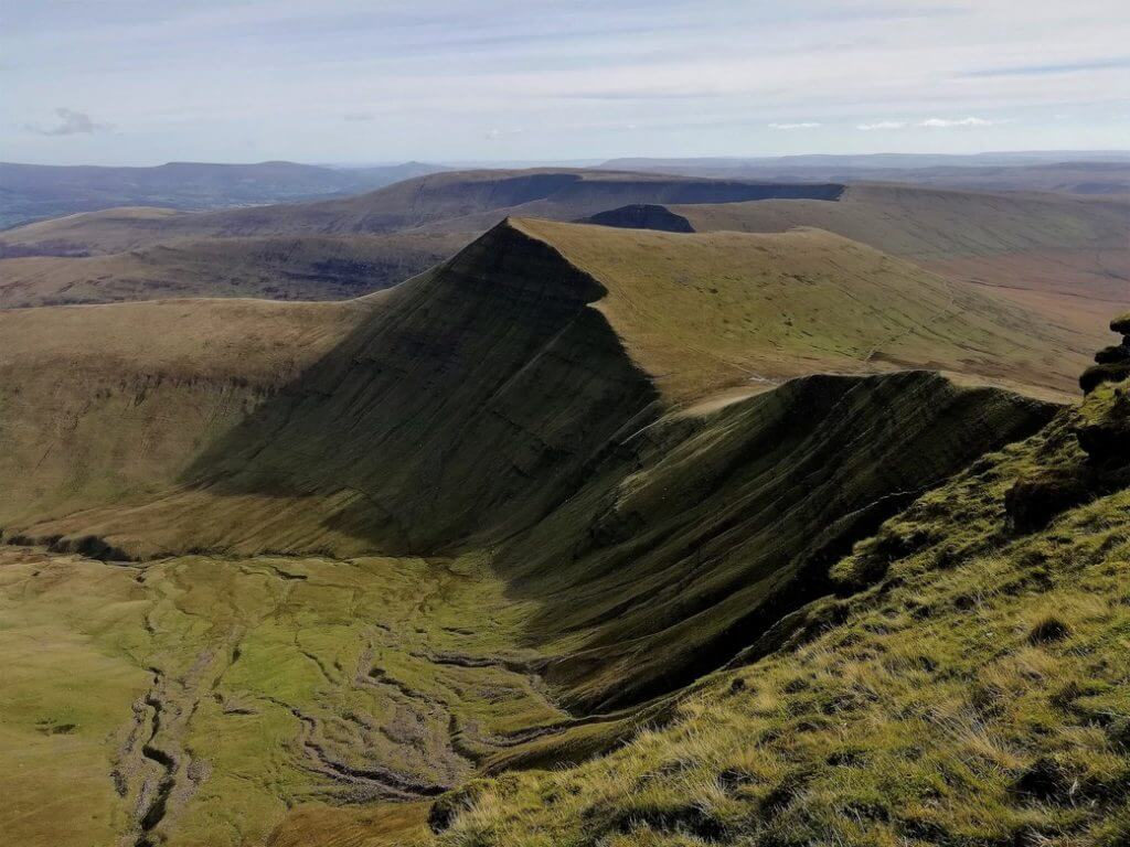 dramatic views of the cribyn's steep northerly slopes from pen y fan