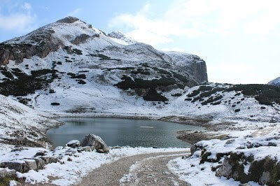 A Snowy Lake on the Way to Forcello Del Lago