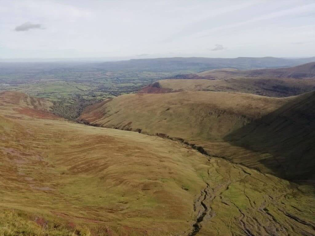 northerly view along the full extent of the Cwm Sere valley
