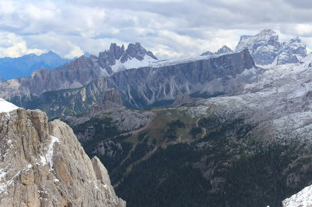 View from the Lagazuoi Pass on the alta via #1 hiking trail