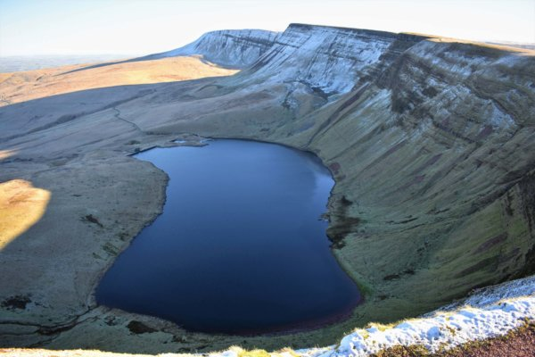 view of llyn y fan fach and picws du from the west