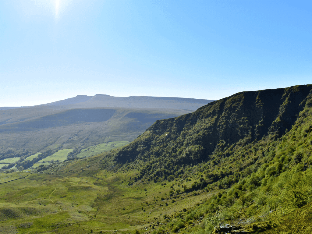 view of pen y fan and corn du from the ridge of craig cerrig gleisiad