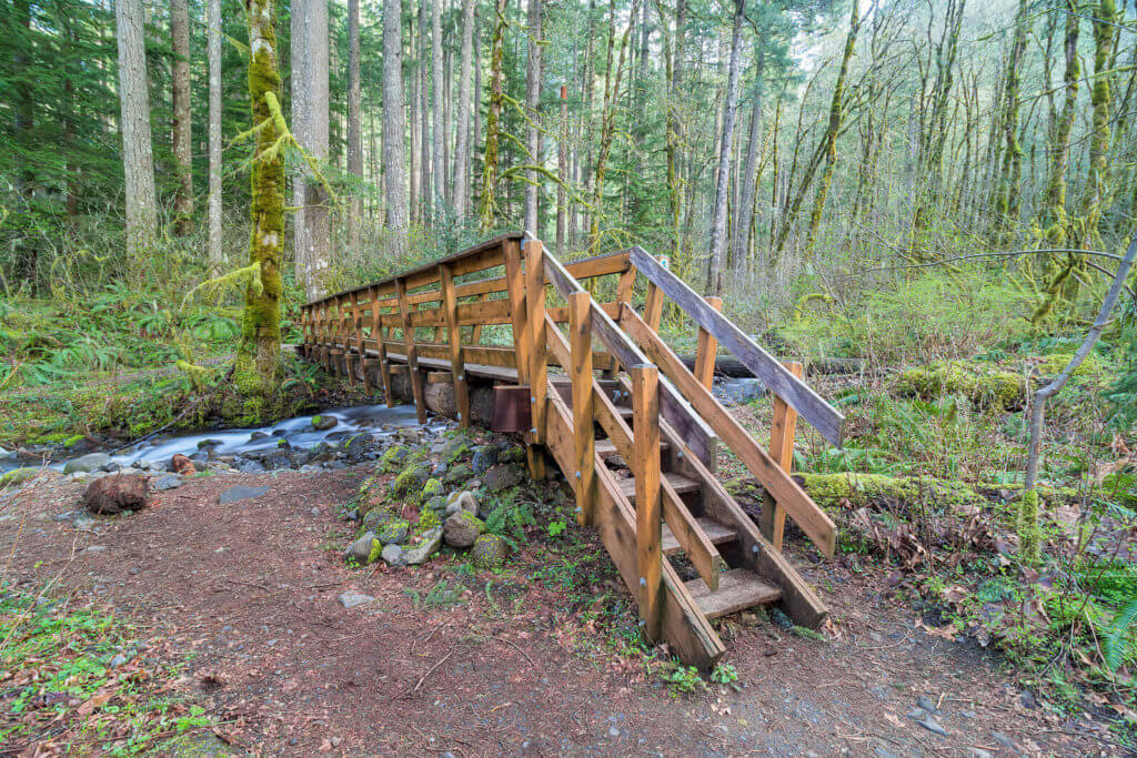 wooden footbridge over dry creek river in oregon