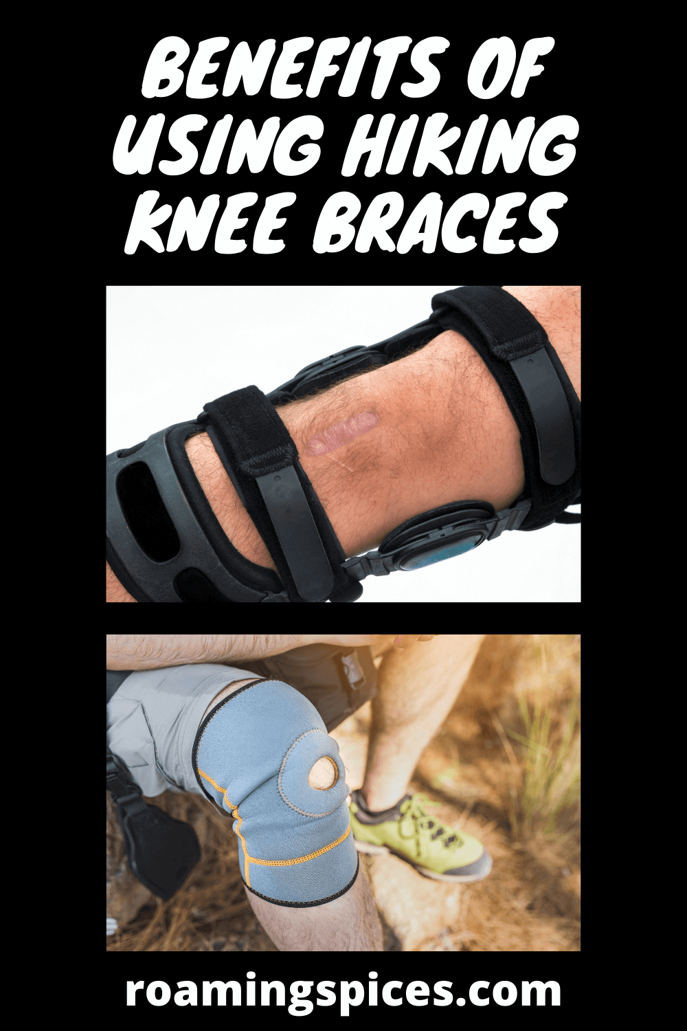pinterest pin showing hiking knee braces