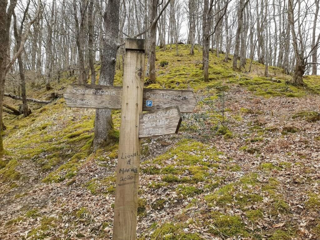 wooden signpost on the Elidir Trail