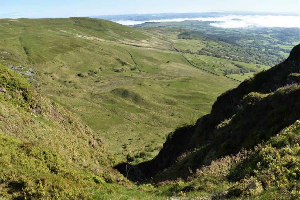 gulley from the cliff top to the valley floor