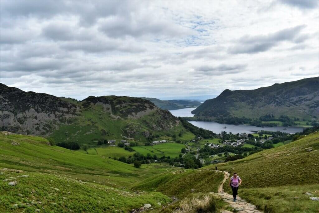 steep stone path leading to birkhouse moor with view of ullswater behind