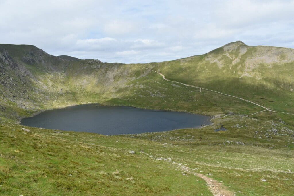 view over red tarn with swirral edge behind