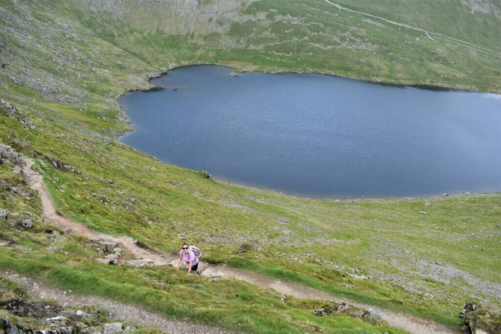 view of red tarn from striding edge