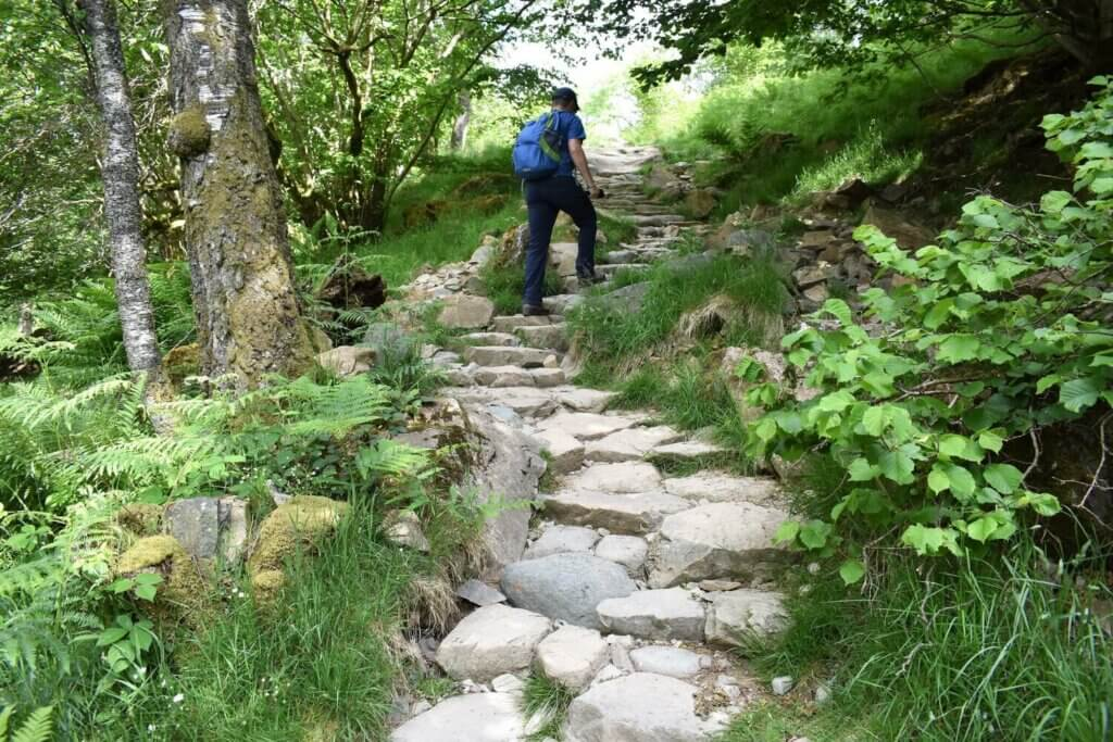 stone pitched path on gowbarrow fell walk