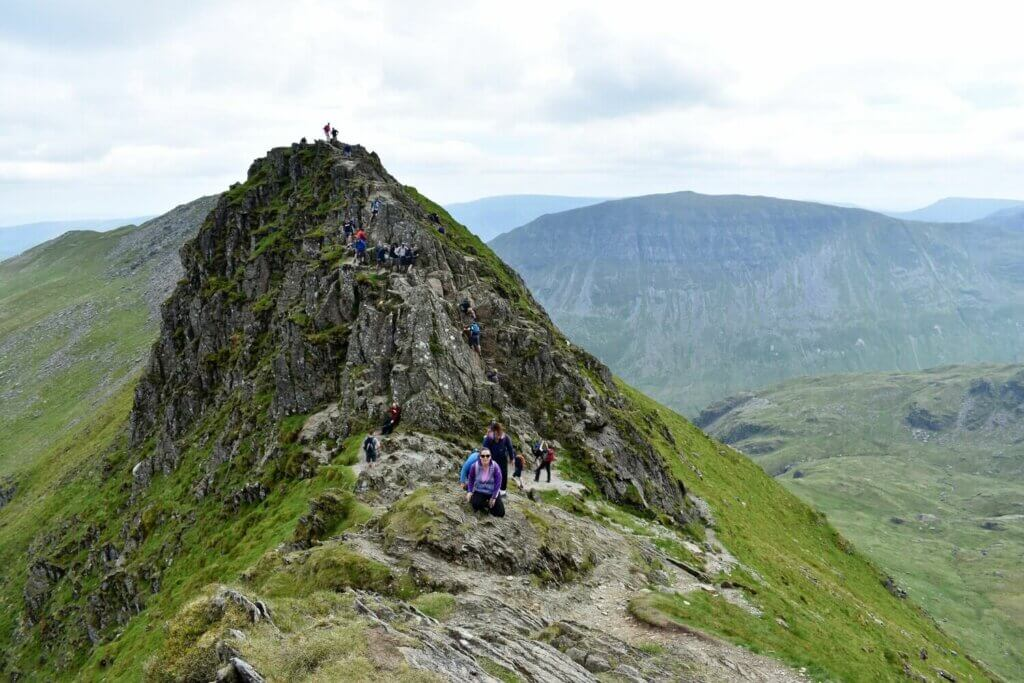 the 'chimney' rock tower along striding edge