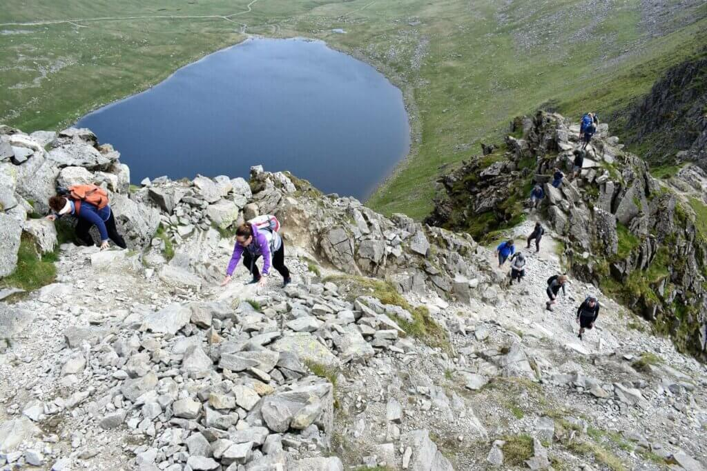 view looking down at striding edge and red tarn