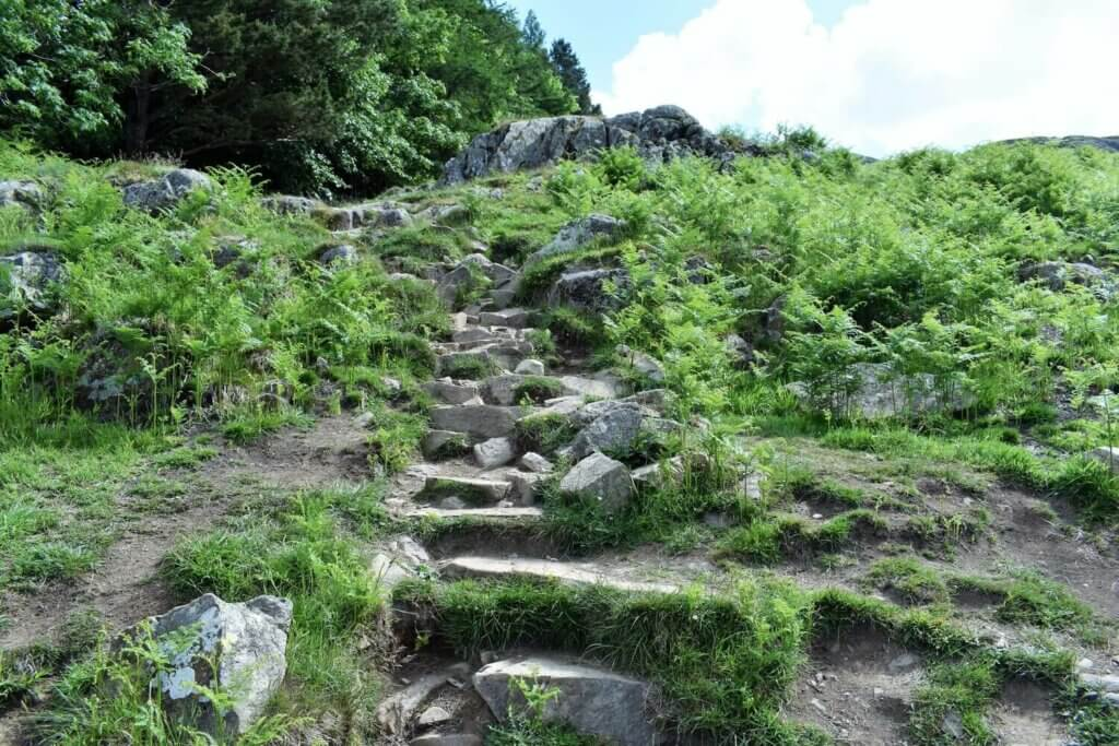 steep path to the summit of gowbarrow fell