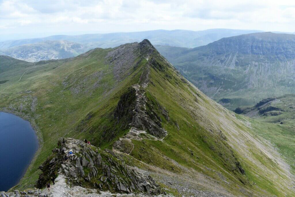 view along the length of striding edge from the summit plateau of Helvellyn