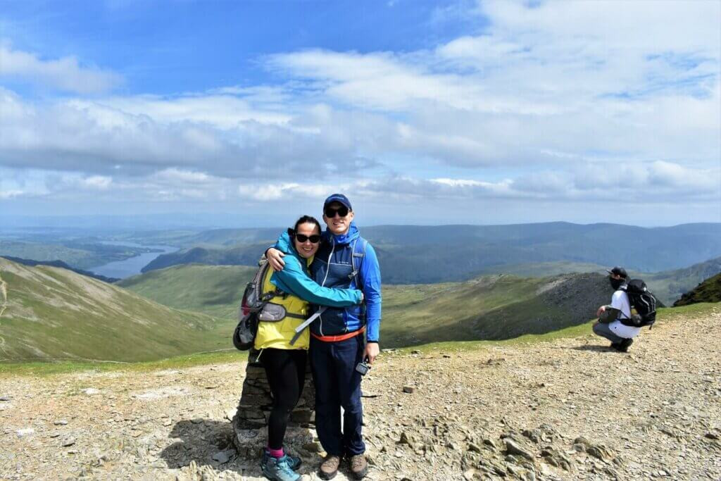 gavin and didem at the summit trig point on helvellyn