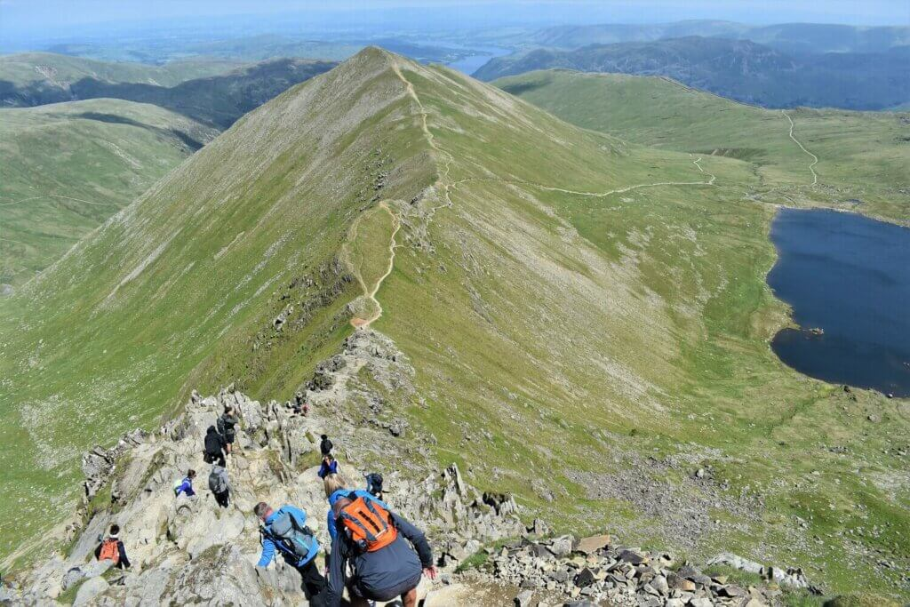 climbing down swirral edge from the summit of helvellyn