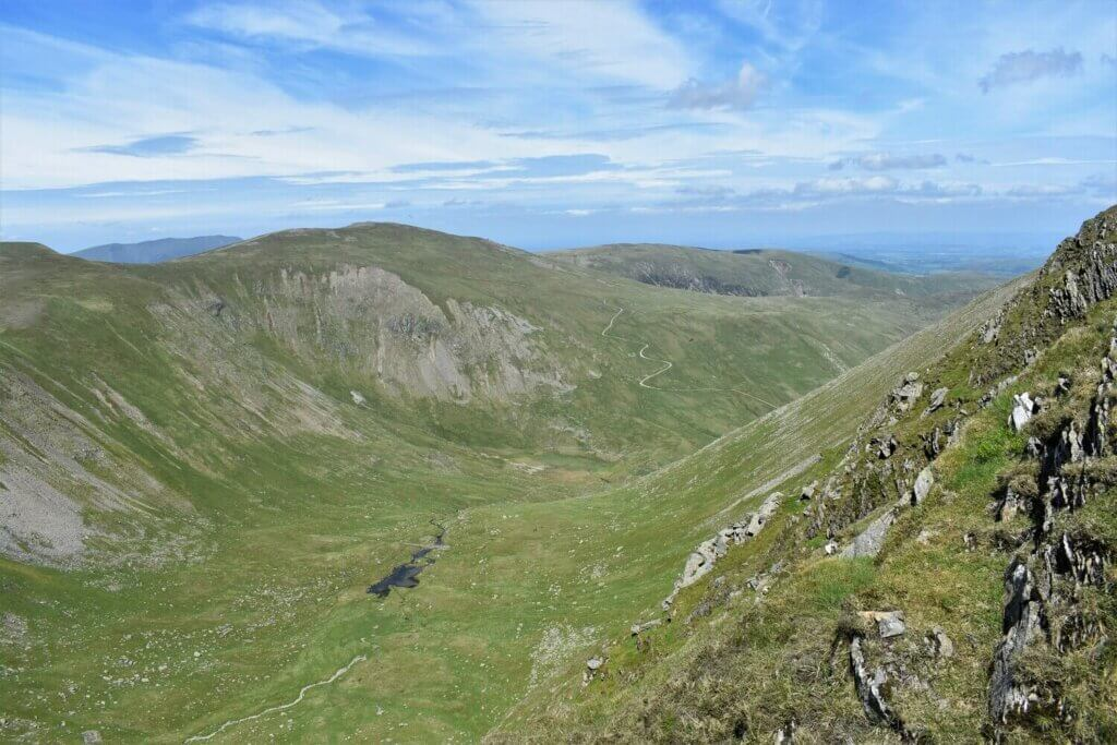 view of brown cove tarn from swirral edge