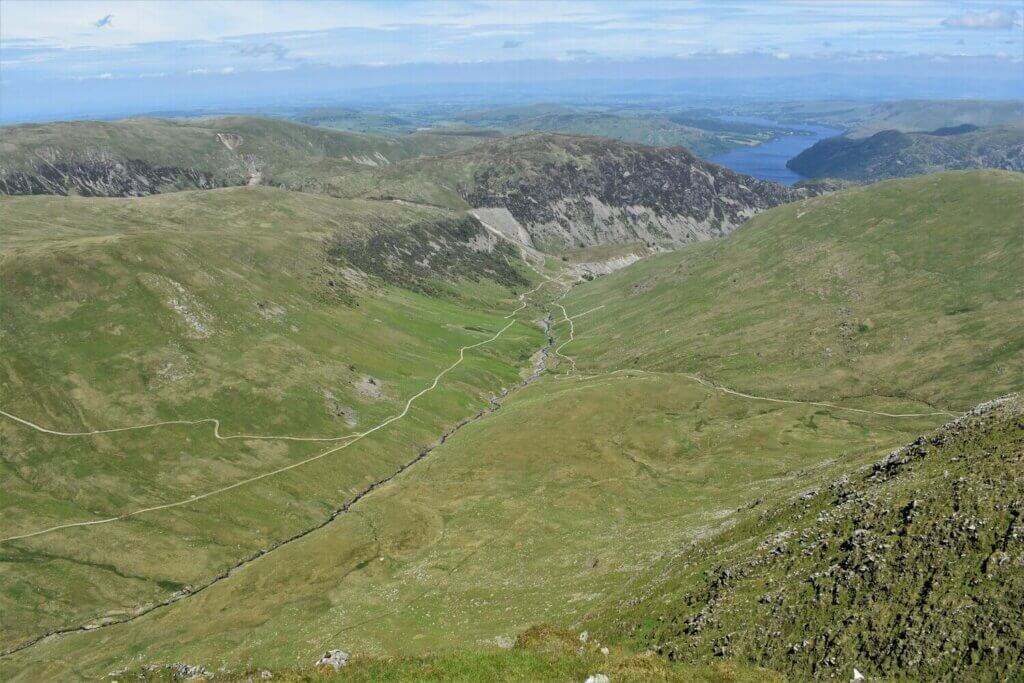 view along glenridding beck and ullswater from the summit of catstye cam