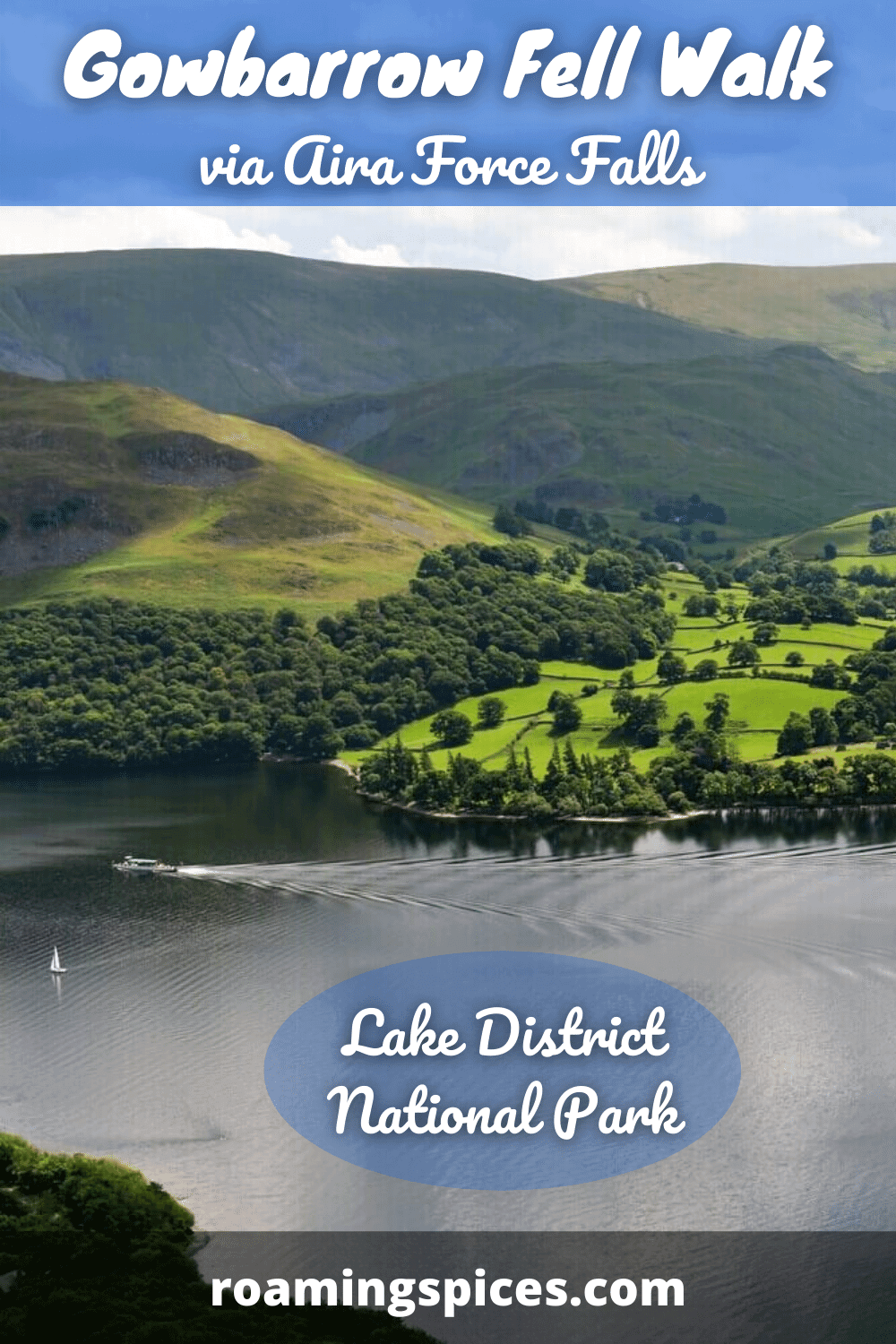 view of ullswater from path on gowbarrow walk