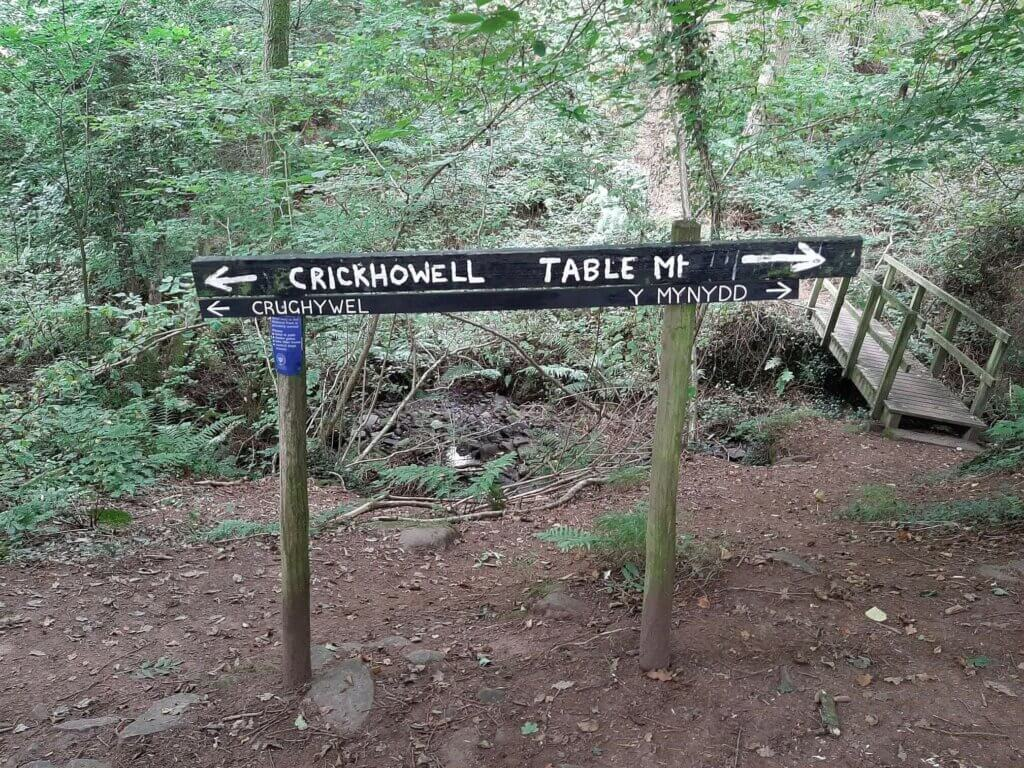 crickhowell and table mountain sign