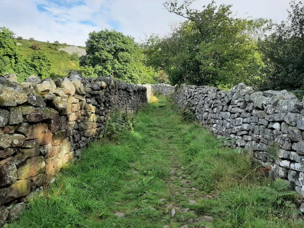 trail between two stone walls