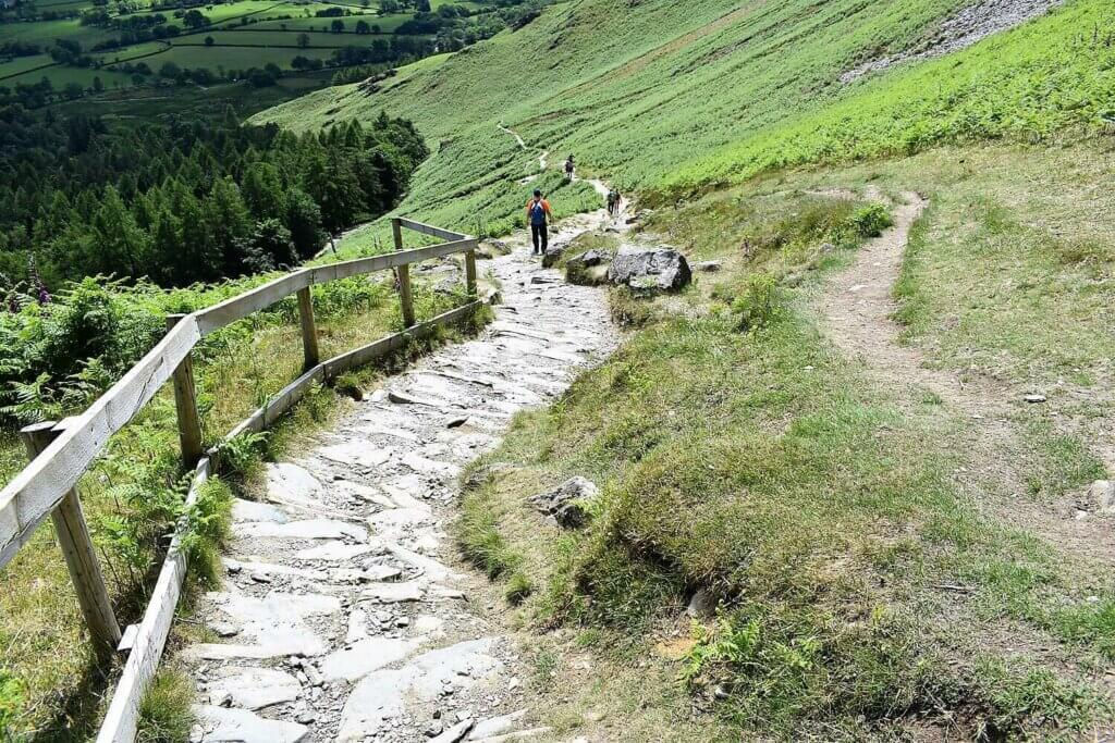 steep stone path down cat bell fell side