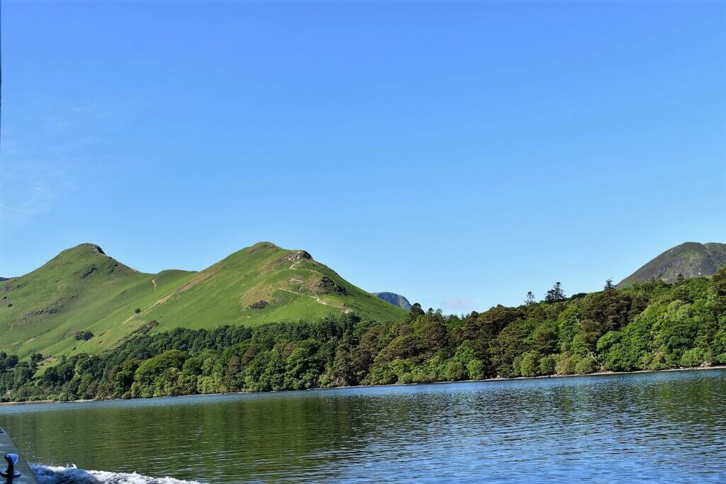 view of cat bells from the ferry crossing derwentwater