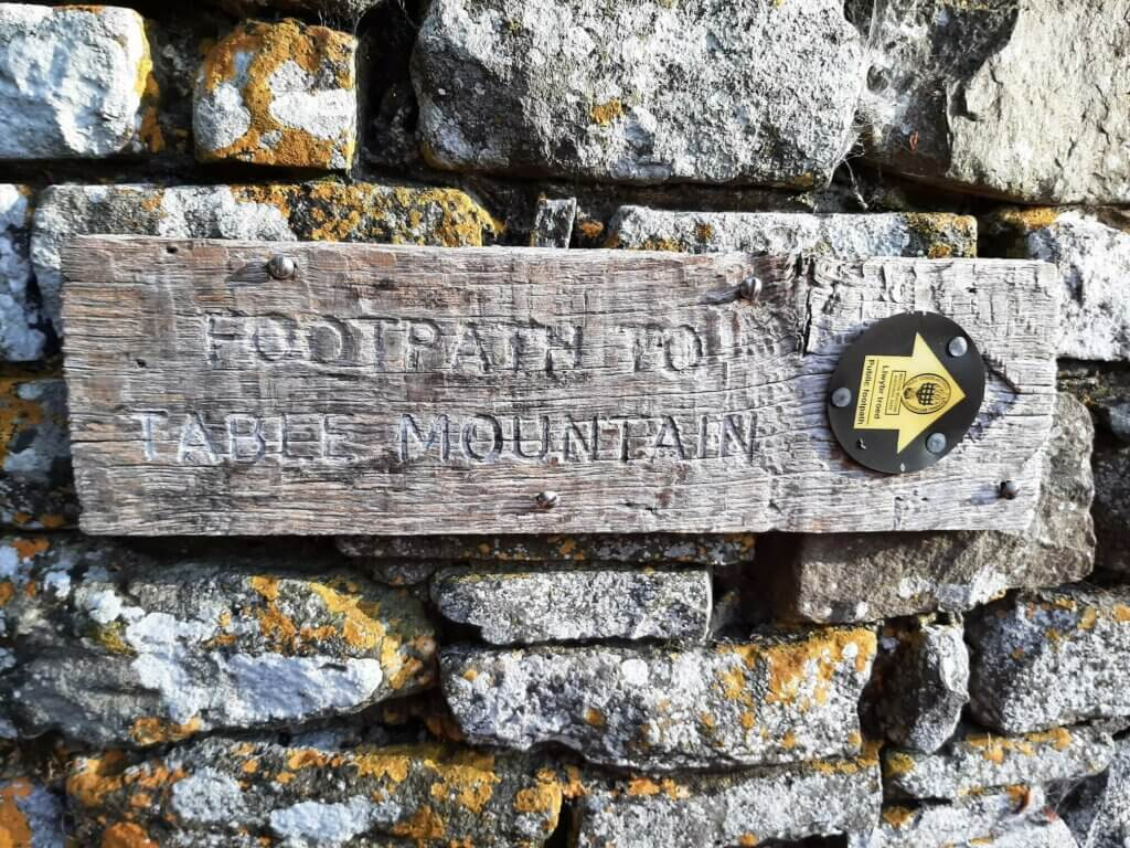 table mountain wooden sign