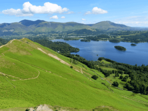view across derwentwater from the summit of cat bells